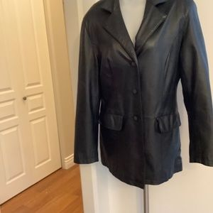 Sequence Black Leather Coat 12 Large